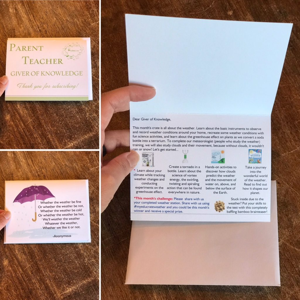 MyEduCrate subscription box weather poem