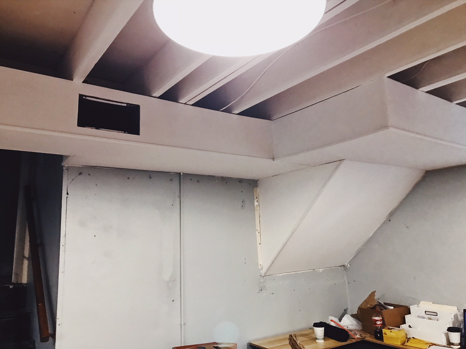 Open Painted basement ceiling